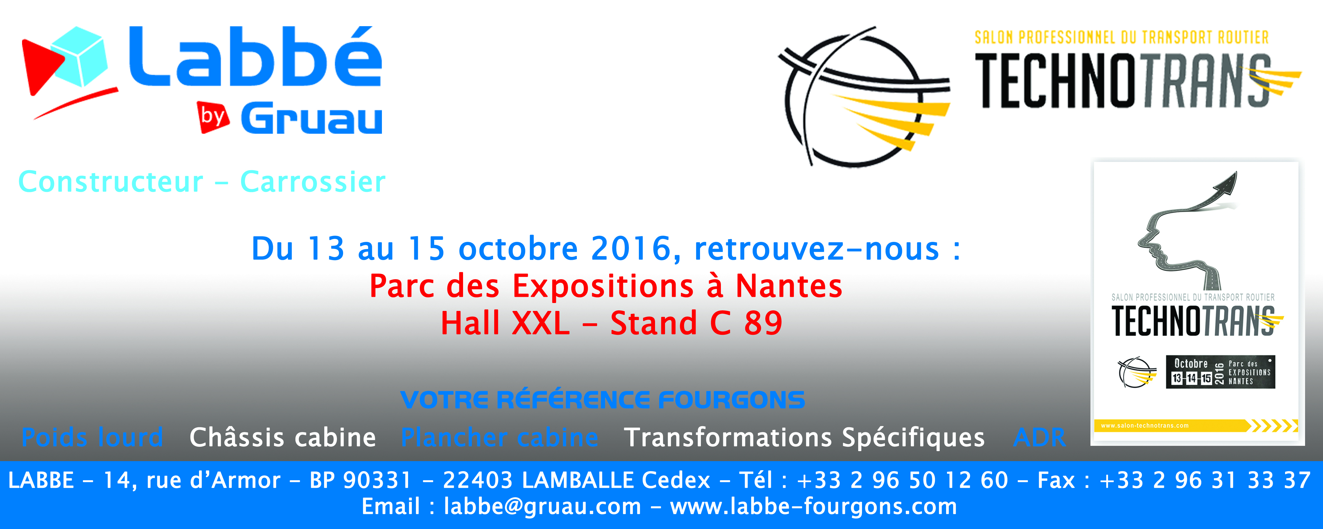Bandeau LABBE by GRUAU pour salon Technotrans 2016