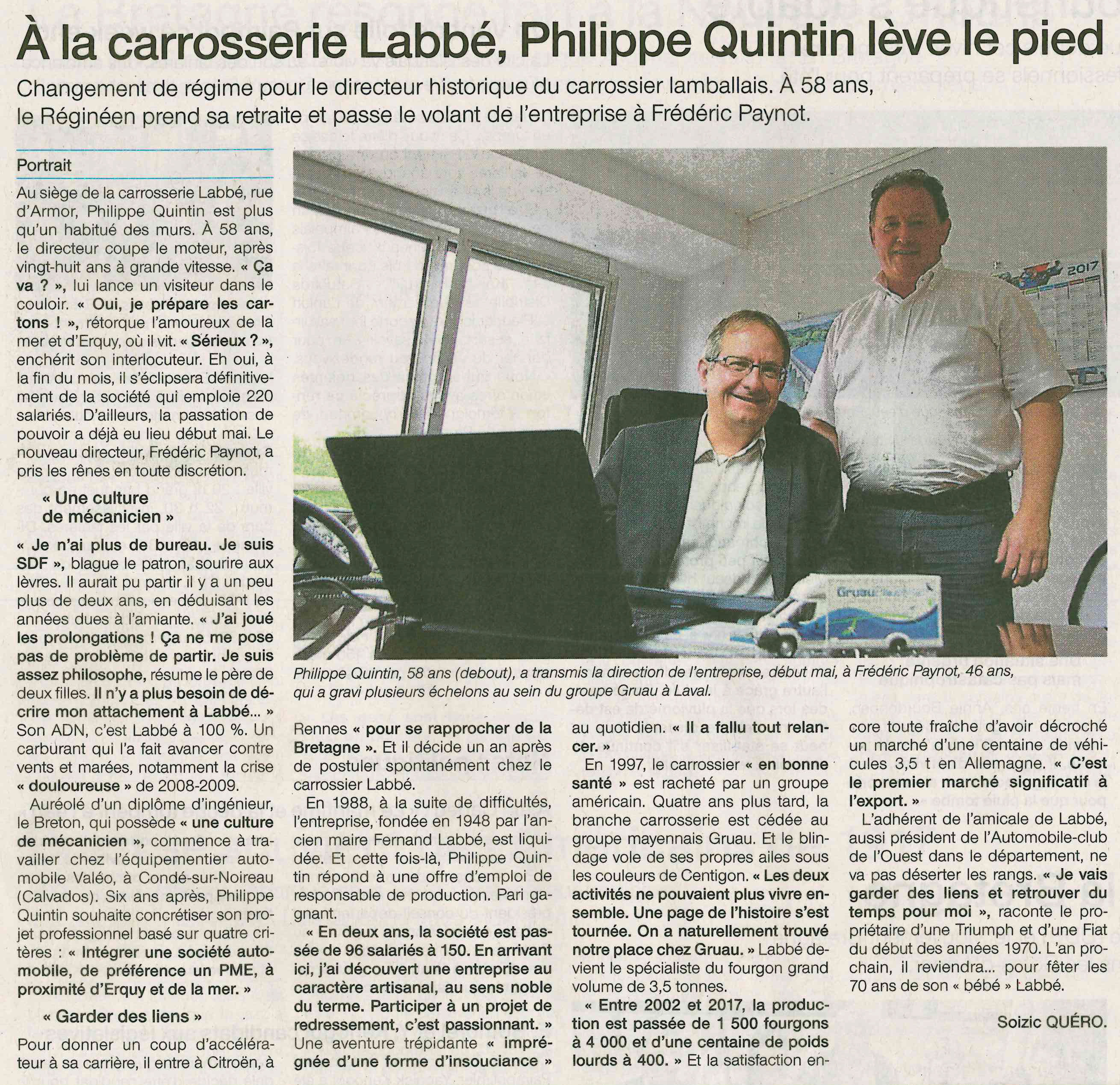 Article LABBE BY GRUAU Changement de Direction